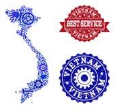 El mejor collage del servicio del mapa de Vietnam y de sellos texturizados libre illustration