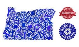 El mejor collage del servicio del mapa del estado de Oregon y de sellos rasguñados ilustración del vector