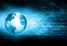 El mejor concepto del Internet de asunto global Globo, líneas que brillan intensamente en fondo tecnológico Electrónica, Wi-Fi, r Fotografía de archivo libre de regalías