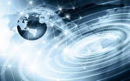 El mejor concepto del Internet de asunto global Globo, líneas que brillan intensamente en fondo tecnológico Wi-Fi, rayos, símbolo imagen de archivo
