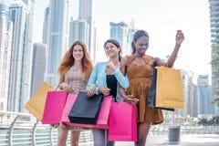 El mejor día para hacer compras Muchacha hermosa en el vestido que lleva a cabo el shopp Imagen de archivo