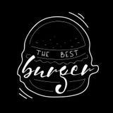 El mejor ejemplo del vector de las letras de la hamburguesa Texto del dibujo de la mano del vector en la hamburguesa pintada Alim Imagen de archivo libre de regalías