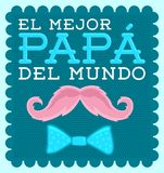 El mejor papa del mundo - World`s best dad spanish text. Vector illustration with moustache - eps available royalty free illustration