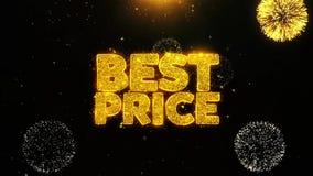 El mejor precio desea la tarjeta de felicitaciones, invitación, fuego artificial de la celebración colocado