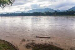 El mejor río Mekong, puerto, Luang Prabang, Laos Imagen de archivo