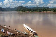 El mejor río Mekong, puerto, Luang Prabang, Laos Fotografía de archivo libre de regalías