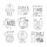El mejor sistema orgánico del producto lácteo de plantillas blancos y negros dibujadas mano del diseño de la muestra con el texto stock de ilustración