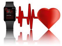 El mejor smartwatch con el monitor del ritmo cardíaco ilustración del vector