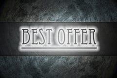 El mejor texto de la oferta en fondo foto de archivo libre de regalías