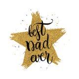 El mejor texto del papá nunca en estrella del brillo del oro de la forma Imagen de archivo libre de regalías