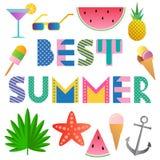 El mejor verano Fuente geométrica de moda en el estilo de Memphis de 80s-90s Texto y elementos aislados en un fondo blanco Fotografía de archivo libre de regalías