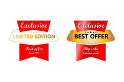 El mejores rojo de la oferta e icono del vector del oro diseñan Fotografía de archivo