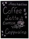 El menú del café en el fondo negro, estilo del vintage estilizó drawning con tiza en la pizarra Fotos de archivo