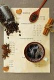 El menú del café, la taza con café del espressoo, las especias y el otro ingredi Fotografía de archivo libre de regalías