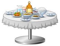 El menú delicioso para el partido iftar está en la tabla ilustración del vector
