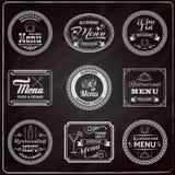 El menú retro etiqueta la pizarra Imagen de archivo libre de regalías