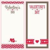 El menú o la invitación del día de tarjetas del día de San Valentín diseña en el rojo a Fotos de archivo libres de regalías