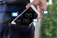 El mensaje de la conexión de la comunicación del correo al envío entra en contacto con buzón de entrada Imagen de archivo