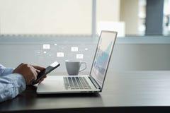 El mensaje de la conexión de la comunicación del correo al envío entra en contacto con el teléfono imágenes de archivo libres de regalías
