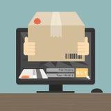 El mensajero envió el artículo en concepto en línea de las compras con el DES del ordenador stock de ilustración
