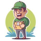 El mensajero está sosteniendo el paquete ilustración del vector