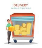 El mensajero se coloca cerca del camión con el cargo dentro Servicio de salida Ilustración del vector de la historieta Foto de archivo libre de regalías