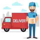 El mensajero trajo el paquete en coche en la ciudad ilustración del vector