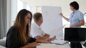 El mentor cerca de la carta del desarrollo de negocios en Whiteboard habla con los socios jovenes en oficina metrajes