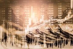 El mercado de acción o el gráfico y la palmatoria comerciales de las divisas trazan conveniente para el concepto de la inversión  imagen de archivo