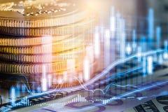 El mercado de acción o el gráfico y la palmatoria comerciales de las divisas trazan el suitab imagen de archivo libre de regalías