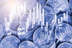 El mercado de acción o el gráfico y la palmatoria comerciales de las divisas trazan el suitab fotos de archivo