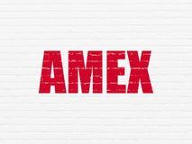 El mercado de acción pone en un índice concepto: Amex en fondo de la pared Imagenes de archivo