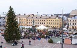 El mercado de la Navidad en el cuadrado del senado, ciudad de Helsinki Imagen de archivo