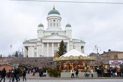El mercado de la Navidad en el cuadrado del senado, ciudad de Helsinki Foto de archivo libre de regalías