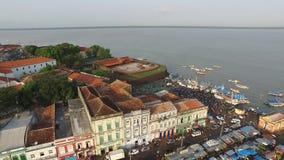El mercado del Ver-o-Peso de la visión aérea en Belem hace la ciudad de Para En noviembre de 2016 - el Brasil almacen de metraje de vídeo