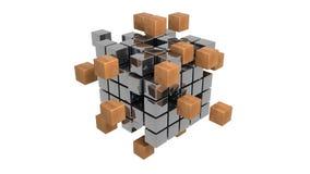 El metal abstracto cubica el ejemplo 3d Stock de ilustración