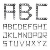 El metal atornilló la fuente del alfabeto Imágenes de archivo libres de regalías