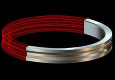 El metal de Abstact y el anillo 3D del wireframe rinden Fotos de archivo