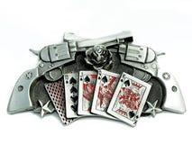 El metal de la vendimia hace fuego sobre tarjetas y las estrellas de las rosas Imagen de archivo libre de regalías