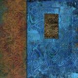 El metal oxidado grabó en relieve el collage texturizado de las tejas imagen de archivo