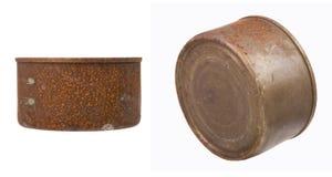 El metal oxidado puede con el fondo blanco Fotografía de archivo