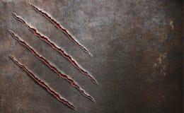 El metal rasguñado por la garra de la bestia marca el fondo Foto de archivo