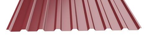 El metal rojo oscuro acanaló la pila de la hoja del tejado - vista delantera Imagen de archivo