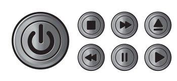 El metall de los iconos del jugador abotona vector Imagen de archivo libre de regalías