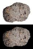 El meteorito, cometa, roca del espacio, aisló el negro, blanco Imágenes de archivo libres de regalías