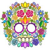 El mexicano Calaveras de Sugar Skull Floral Naif Art aisló stock de ilustración