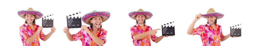 El mexicano divertido con el sombrero del sombrero fotografía de archivo