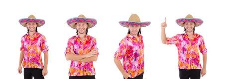 El mexicano divertido con el sombrero del sombrero foto de archivo