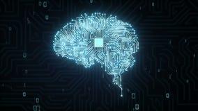 El microprocesador de la CPU del cerebro, crece la inteligencia artificial ilustración del vector