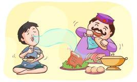 El millonario y los mendigos cenan libre illustration